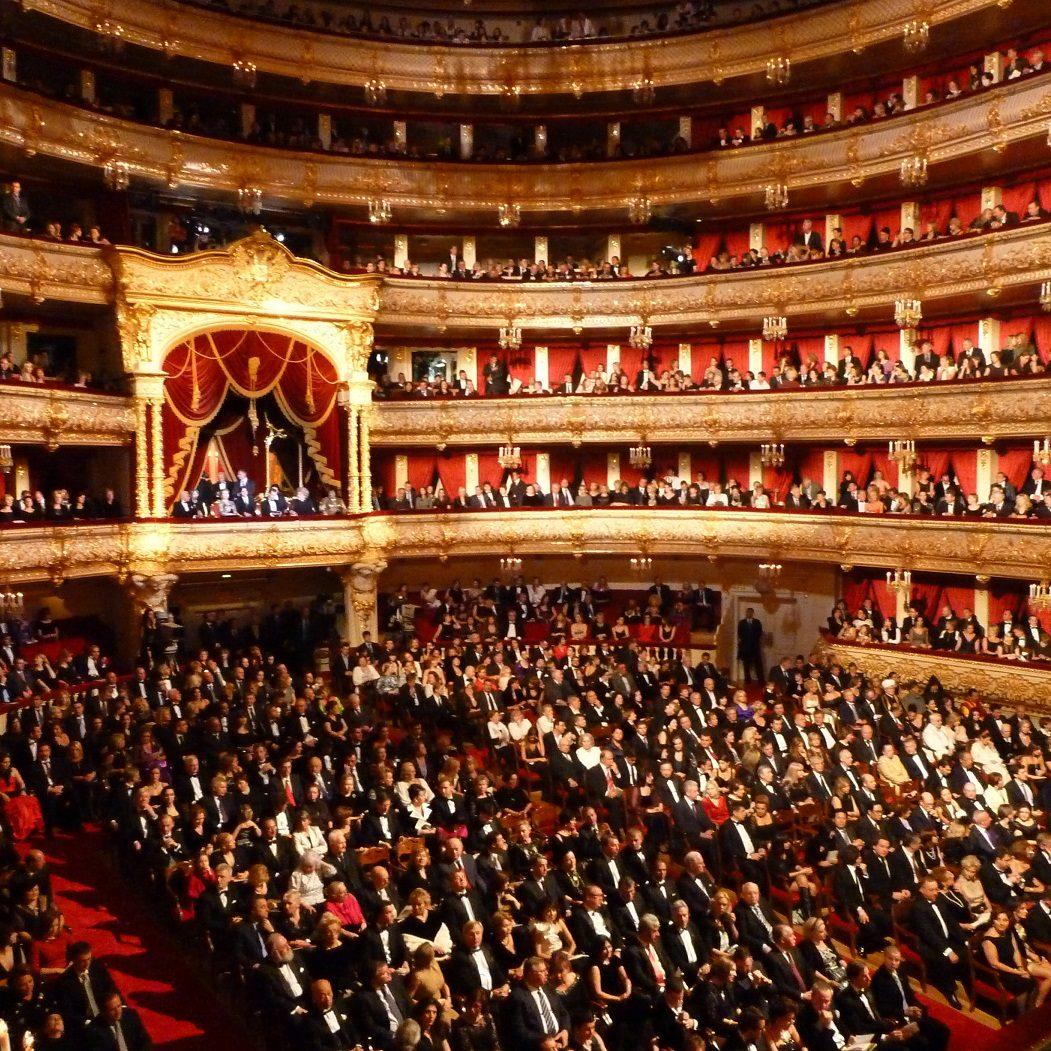MOSCOW, RUSSIA. OCTOBER 28. 2011. A reopening Gala at the Bolshoi Theatre historic stage is held following its six-year-long renovation. (Photo ITAR-TASS / Vladimir Rodionov)  Ðîññèÿ. Ìîñêâà. 28 îêòÿáðÿ. Çðèòåëüíûé çàë Áîëüøîãî òåàòðà âî âðåìÿ öåðåìîíèè îòêðûòèÿ ïîñëå ðåêîíñòðóêöèè èñòîðè÷åñêîé ñöåíû ÃÀÁÒà. Ôîòî ÈÒÀÐ-ÒÀÑÑ/ Âëàäèìèð Ðîäèîíîâ